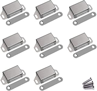 WOOCH Magnetic Door Catch - 20lb High Magnetic Stainless Steel Heavy Duty Catch for Kitchen Bathroom Cupboard Wardrobe Closet Closures Cabinet Door Drawer Latch (2.1 in Silver, 8-Pack)