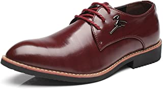 Men's Shoes-Men's Business Oxfords Matte PU Leather Vamp Lace Up Block Heel Pointed Toe Lined Shoes Leisure (Color : Wine, Size : 42 EU)