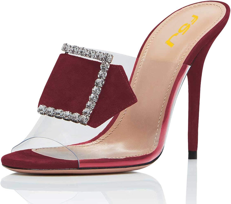 FSJ Women Peep Toe Stiletto High Heel PVC Mules Transparent Slip On Dress Slide Sandals with Buckle Size 4-15 US