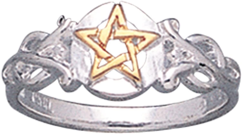 Sterling Silver Pentacle Golden Pentagram Band Ring(Sizes 3,4,5,