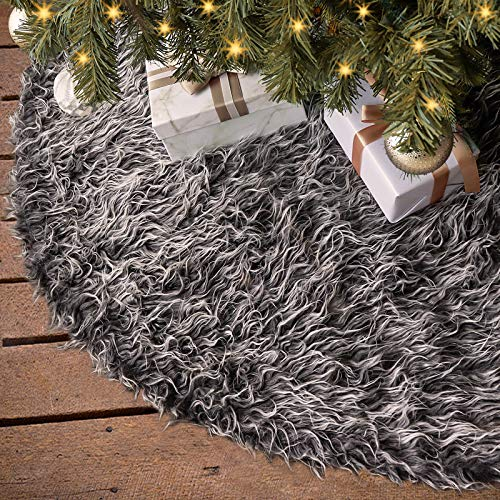 Ivenf Christmas Tree Skirt, 48 inches Luxury Thick Plush Faux Fur Rustic Xmas Holiday Decoration, Gray…