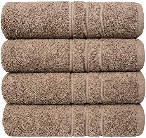 PH Pleasant Home - Juego de toallas de baño (4 unidades, 70 x 140 cm, 100% algodón, 550 g/m², tejido de palomitas de maíz, suave y absorbente (mocha)