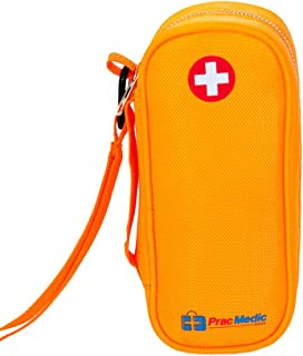 PracMedic EPIPEN Carrying Case - Holds 2 Epi Pens or Auvi-Q, Asthma Inhaler, Anti-Histamine, Nasal Spray, Eye Drops, Medicine, Vials, Syringes, Ice Pack- Sold Empty (Orange)