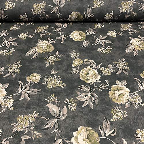 Polsterstoff Dekostoff 0,5lfm 148cm breit Muster Landhausstil Rosen Floral 21