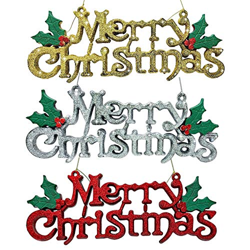 BANBERRY DESIGNS Merry Christmas Sign - Set of 3 Decorative Glittery Hanging Signs for Xmas - Red, Silver and Gold Glitter with Holly Berries