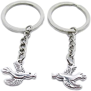 Metal Antique Silver Plated Keychains Keyrings Keytag YK113 Peace Bird Pigeon Key Chain Ring