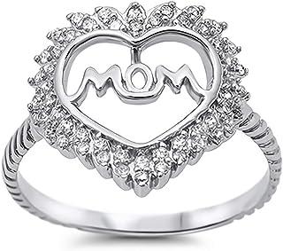 Glitzs Jewels 925 Sterling Silver CZ Ring (Clear/Mom)   Cubic Zirconia Jewelry Gift