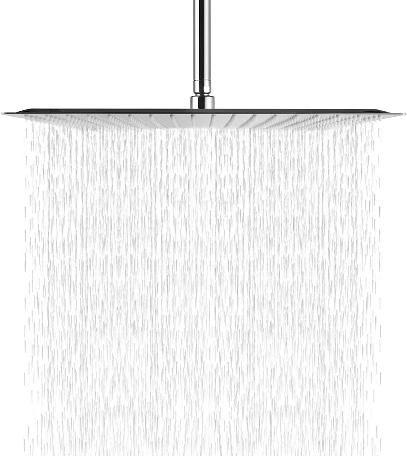 Logmey LM0016S Solid Square Ultra Thin 304 Stainless Steel 16 Inch Adjustable Rain Shower Head, Chrome Finish (Chrome 16 inch)