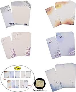 NUIBY 60 Pcs Stationery Paper and Envelopes Set (40 Stationery Paper + 20 Envelopes) Letter Set, Ink Painting Classic Vintage Antique Design