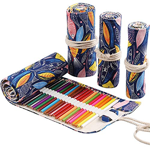 Funny live 36/48/72 Slots Colored Pencil Wrap Pencils Roll Holder Coloring Pencils Organizer Holder Colored Pen Paint Brush Storage Pouch Portable for Artist Student (Colorful Fish, 36 Slots)