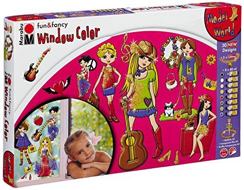 Marabu 0406000000110 - Window Color fun & fancy, Model's World, Transparentfarbe auf Wasserbasis, für glatte Oberflächen, 8 x 80 ml Farbe, Glitterstreu silber und gold, 2 Malvorlagen und Folie