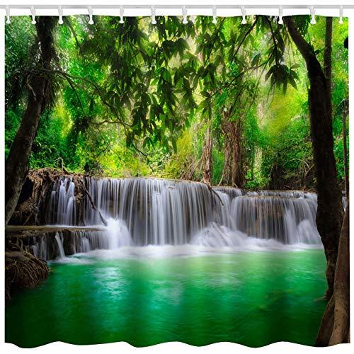 BROSHAN Duschvorhang-Set mit grünem Landschaftsmotiv, tropischer Wasserfall im Wald, Dschungel, Kunstdruck, wasserdichter Stoff, Badezimmer-Dekor, Vorhang mit Haken, grün, braun, weiß, 183 x 183 cm