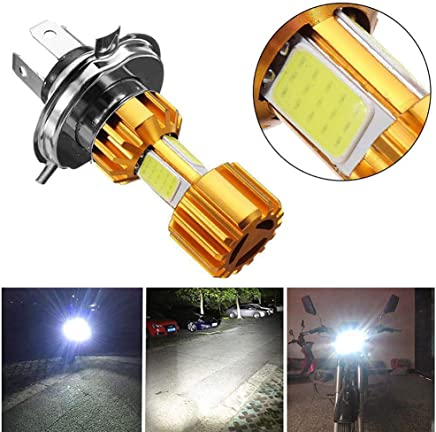 Motorcycle LED Headlight Bulbs,ABCmall H4 COB 18W White Light 2000LM 6000K,Hi/Lo Beam Super Bright Motorbike Light,2 Pcs