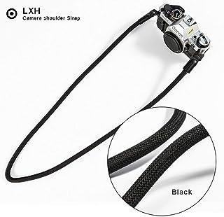 LXH correa de cámara de cuerda de nylon de alta resistencia correa de cuerda de la cámara Correa para el cuello para Nikon Canon Sony Pentax Leica Olympus Fuji (Negro)