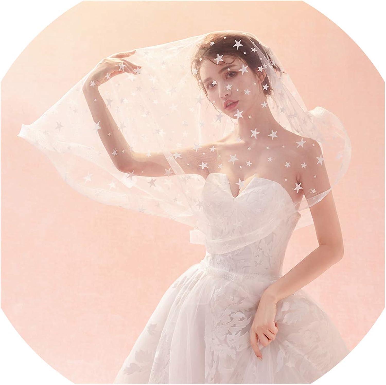 Bridal Accessories Wedding Veil 1.5 Meters Elastic edge With Stars Bridal Veil Ivory bluesher Veil,Ivory,150cm