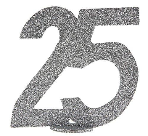 cama24com XXL Tischdeko Zahl 25 Geburtstag Silber Glitzer 1 Stück Party-Deko mit Palandi® Sticker