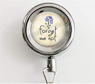 Forget Me Not - Flower Jewelry - Alzheimers - Alzheimers Patient Gift - Remember Me - Forget Me Not Brooch - Floral Retractable Badge Reel with Waterproof ID Holders & Keychain
