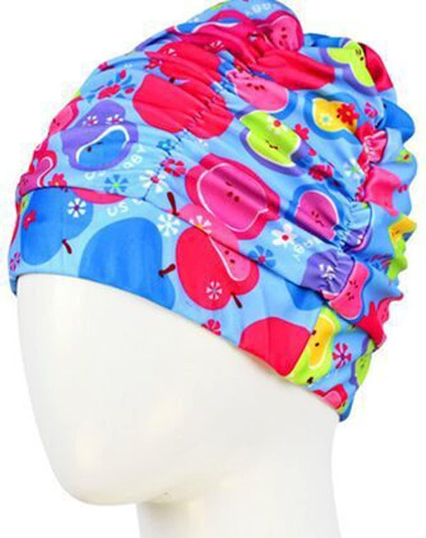 kastlee水泳Long Hair耳ラップ防水帽子Swim Cap for Long Hair、紫外線対策、リークプルーフフローラルパターンユニセックス水泳帽子