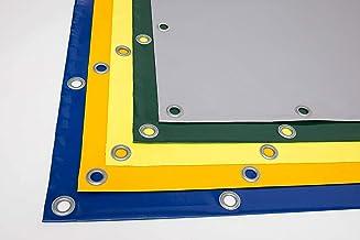 620g/m2 vrachtwagenzeil/PVC-zeil, 3,1 m breed, met 12 mm ronde ogen en met zoom. 3,1m x 8m Geel Ral1003