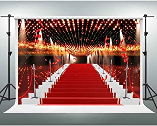 Red Carpet Backdrops GESEN 10X7ft Flashing Lights Ribbon Celebration Photography Background for Wedding or Awards Ceremony Photo Studio Shooting Props LXGE002
