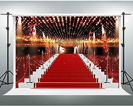 Red Carpet Backdrops GESEN 10X7ft Flashing Lights Ribbon Celebration Photography Background for Wedding or Awards Ceremony Photo Studio Shooting Props LXGE002