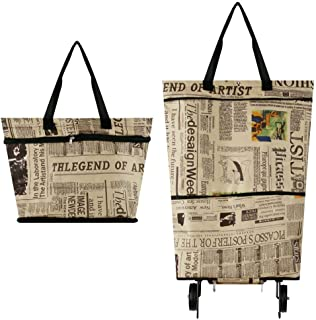 Foldable Shopping Bag with Wheels, Collapsible Trolley Bag on Wheels for Women, Reusable Shopping Trolley Dolly, Hard Wearing & Foldaway for Easy Storage #7747(Newspaper)