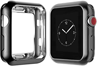 Chrome TPU Case W/Corner & Edge Protection by Tech Express for Apple Watch Series 1, 2 & 3 Cellular LTE/GPS [iWatch Cover] Bumper Smooth Gel Skin Protective Shockproof Protection (38mm, Black)