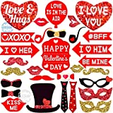 Valentines Days Photo Booth Props for Valentine's Day - Pack of 30 | Real Red and Gold Glitter Valentines Day Props | Valentines Photo Booth Props for Home, Anniversary, Valentines Kids Party Supplies