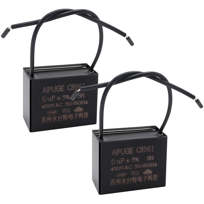 Tnisesm - Condensador de ventilador CBB61 6uF 450V AC 2 cables para ventilador de techo, ventilador de pared, motor, condensador de arranque, TN-CBB61-6