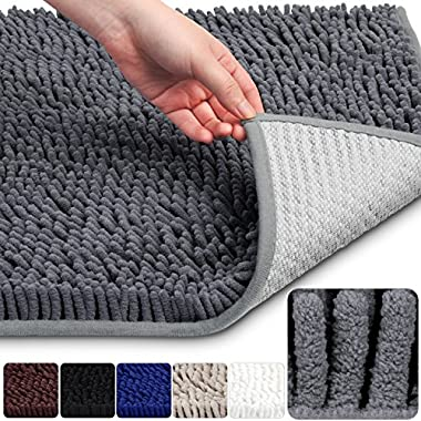 VDOMUS Soft Microfiber Shag Bath Rug, Extra Absorbent and Comfortable, Machine-Washable large Bathroom Mat, 32  x 20 , Grey