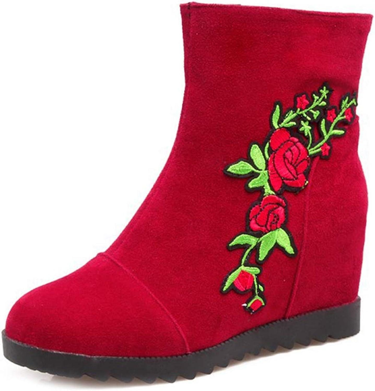 GIY Women's Embroidered Flower Wedge Ankle Bootie Close Toe Platform Zipper Hidden Heel Martin Short Boots