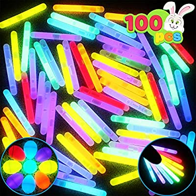 """JOYIN 100 Mini 1.7"""" Glow Sticks Bulk with 8 Colors for Glow Easter Eggs, Kids Glow-in-The-Dark, Easter Basket Stuffers Gift, Easter Party Favors, Christmas Halloween 4th of July & Independent Day"""