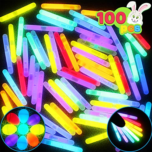 JOYIN 100 Mini 1.7' Glow Sticks Bulk with 8 Colors for Glow Easter Eggs, Kids Glow-in-The-Dark, Easter Basket Stuffers Gift, Easter Party Favors, Christmas Halloween New Year Eve Party 2021