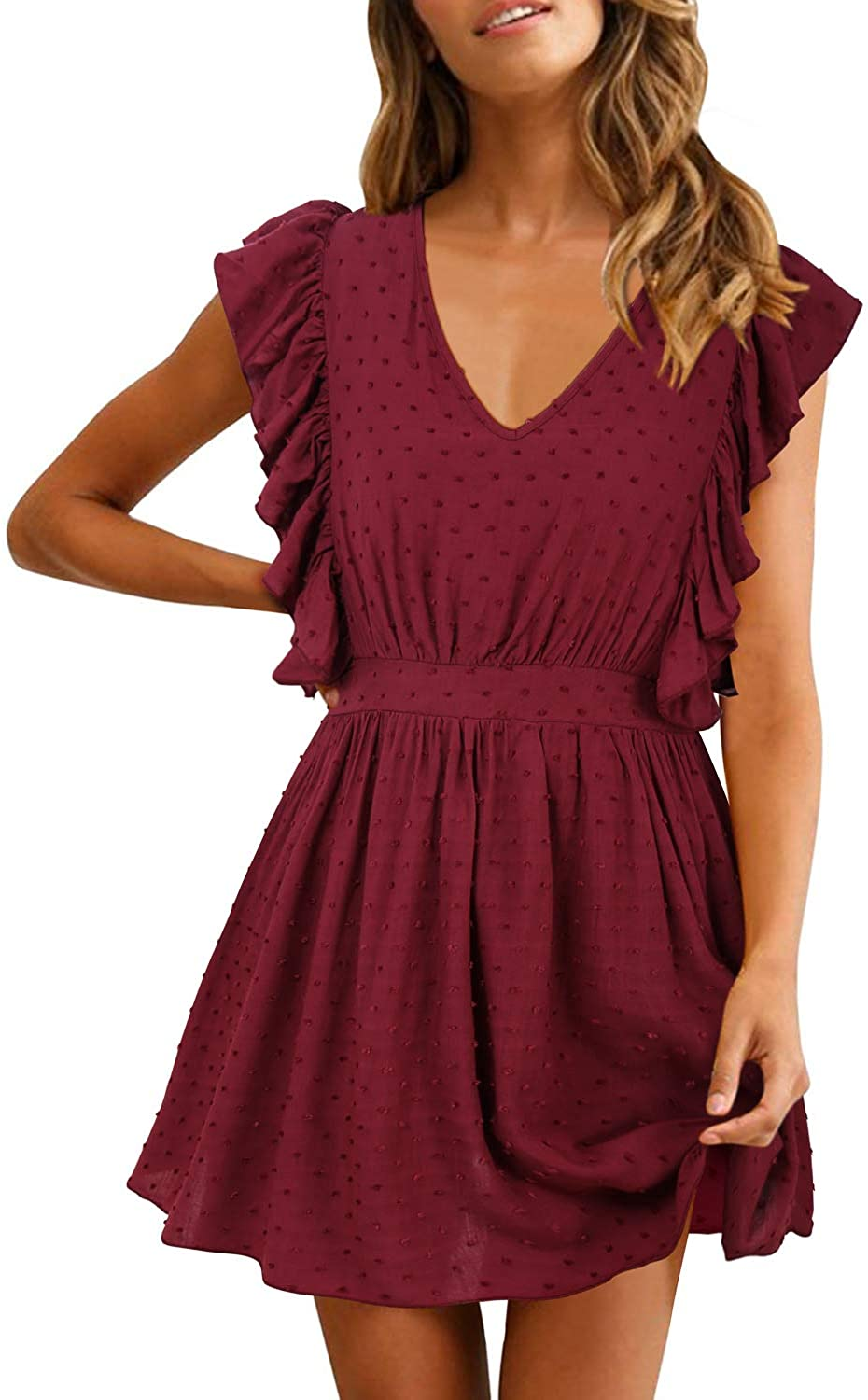 SOLERSUN Women's Casual Summer V Neck Ruffle Sleevesless Stretchy Swing Cocktail Party Mini Dress