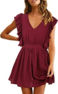 Women's Casual Summer V Neck Ruffle Sleevesless Stretchy Swing Cocktail Party Mini Dress