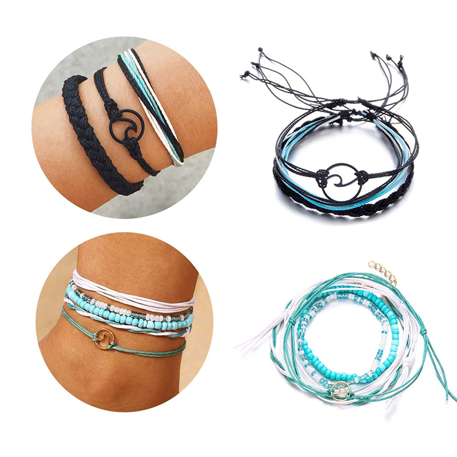 Q﹠YFH 2 Pcs Summer Surfer Wave Anklet Bracelet for Woman,Adjustable Waterproof Ocean Wave Braided Rope String Bracelet Set