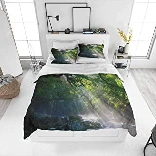 Rainforest Decorations Bedding sets California King, Stream in the Jungle Stones under Shadows of Trees Sunlight Mother Earth Theme Ultra Soft Microfiber Bedding Comfortable hotel bedding Green White