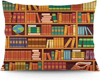 """GULTMEE Throw Pillow Cushion Cover, Education Themed Pattern of Bookshelves with Academic Books Globe and Big Seashell, Decorative Standard Queen Size Printed Pillowcase, 14""""x20""""."""