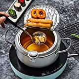Homease Deep Fryer Oil Fryer Japanese Style Tempura Fryer Pot with Thermometer and Oil Drip Drainer Rack for French Fries Shrimp Chicken, Nonstick Coating, Silver, Diameter 8.1 inch/ 20.5 cm