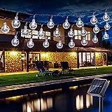 Guirnalda luces exterior solares, BrizLabs 6.5M 30 LED Cadena de Luces impermeable 8 modos de Iluminación, para interiores y exteriores jardín, navidad, terraza, patio, fiestas, Blanco Frio