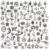 100 piezas Colgantes tibetanos del encanto de plata retro al por mayor mezclados dijes colgantes para de la joyería de bricolaje, llaveros, pulseras, collares, pendientes