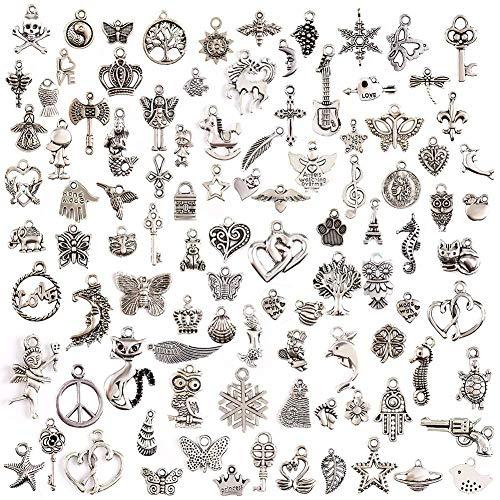 100 Stücke Charm Anhänger zum Schmuck Basteln Armband Halskette Ohrring Gemischte Charms, DIY Charm Anhänger zum Basteln von Bettelarmbändern für Armband Halskette Ohrring, Antik Silber