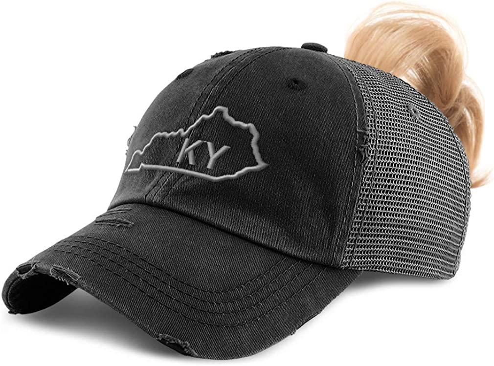 Custom Womens Ponytail Cap Kentucky State Map Ky Embroidery Cotton Strap Closure