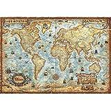 EastMetal Mapa del Mundo Antiguo Puzzles Piezas Grandes de 2000 Piezas,97x69cm / 38x27in Puzzles para Adultos, Niños, Ilustraciones de Juegos de Rompecabezas Grandes
