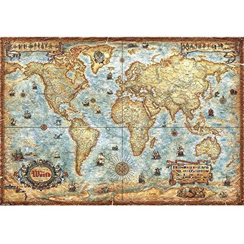 Mapa del Mundo Antiguo Puzzles Piezas Grandes de 2000 Piezas,97x69cm / 38x27in Puzzles para Adultos, Niños, Ilustraciones de Juegos de Rompecabezas Grandes