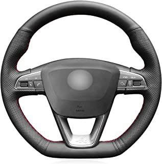 MEWANT Hand-Stitch Sewing DIY Black Artificial Leather Car Steering Wheel Cover for Seat Leon