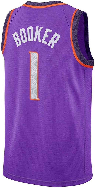 ZAIYI-Jersey Herren Basketball Trikot Devin Booker   1 NBA Phoenix Suns - New Fabric Embroiderot Swingman Jersey rmelloses Shirt (Farbe   B, Größe   XL)
