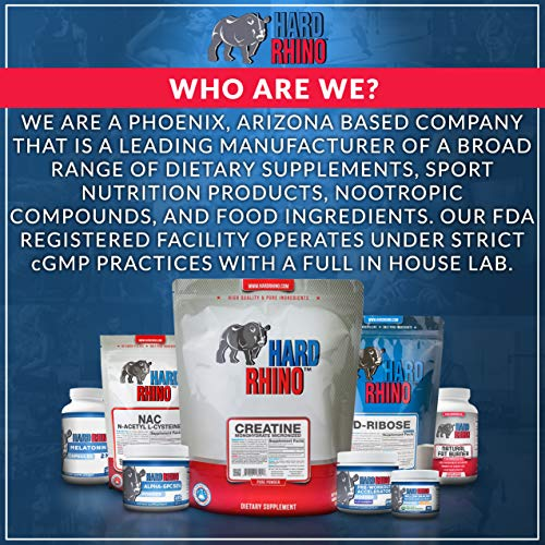 Hard Rhino D-Aspartic Acid (DAA) Powder, 500 Grams (1.1 Lbs), Unflavored, Lab-Tested, Scoop Included