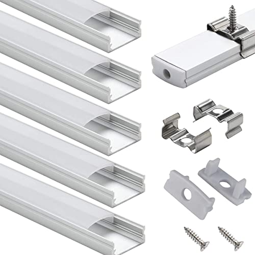 LED Aluminum Channel with Cover - StarlandLed 6-Pack 1Meter/3.3ft LED Profile and Diffusers with End Caps and Mountin...