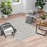 Ambesonne Hipster Turkish Area Rug, Teenager Fun Pattern with Mustache Photo Camera Scooter Sneakers and Sunglasses, Soft Carpet for Living Room Decor with Distressed Look, 6.6' X 9.6', Seafoam Coral
